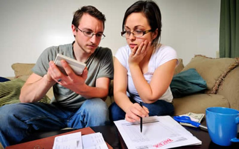 A couple working on their finances